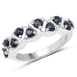 Srebrny pierścionek z naturalnymi szafirami niebieskimi 0,60 ct
