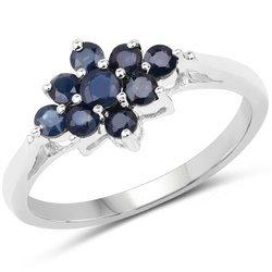 Srebrny pierścionek z naturalnymi szafirami niebieskimi 0,66 ct