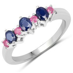 Srebrny pierścionek z naturalnymi szafirami niebieskimi i rubinami 0,84 ct