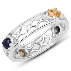 Srebrny pierścionek z naturalnymi szafirami niebieskimi i żółtymi 0,88 ct