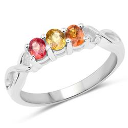 Srebrny pierścionek z naturalnymi szafirami: żółtym, pomarańczowym i czerwonym 0,60 ct