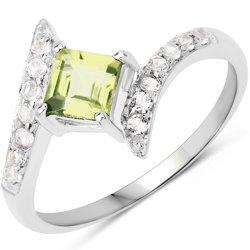 Srebrny pierścionek z perydotem i kryształami górskimi 0,88 ct