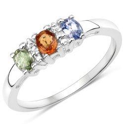Srebrny pierścionek z szafirami i kryształami górskimi 0,61 ct