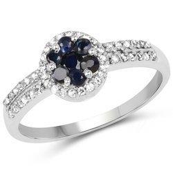 Srebrny pierścionek z szafirami i kryształami górskimi 0,72 ct