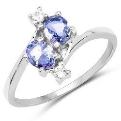 Srebrny pierścionek z tanzanitami i białymi szafirami 0,76 ct