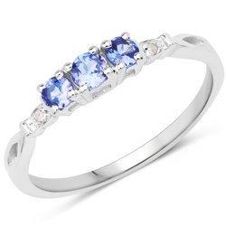 Srebrny pierścionek z tanzanitami i diamentami 0,27 ct
