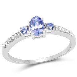 Srebrny pierścionek z tanzanitami i kryształami górskimi 0,58 ct