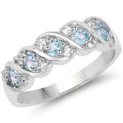 Srebrny pierścionek z topazami niebieskimi i kryształami górskimi 0,65 ct