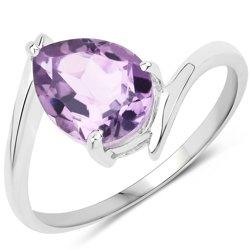 Srebrny pierścionek z wielkim naturalnym ametystem 1,23 ct