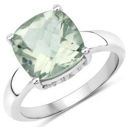 Srebrny pierścionek z zielonym ametystem i kryształami górskimi 3,40 ct