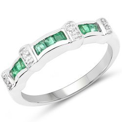 Srebrny pierścionek ze szmaragdami i kryształami górskimi 0,37 ct
