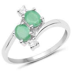 Srebrny pierścionek ze szmaragdami i kryształami górskimi 1,00 ct