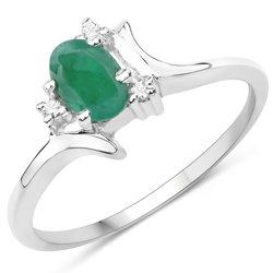 Srebrny pierścionek ze szmaragdem i 3 kryształami górskimi 0,50 ct
