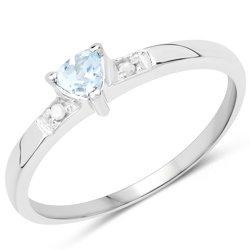 Srebrny pierścionki z topazem niebieskim i diamentami brylantami 0,19 ct