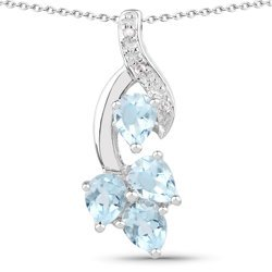 Srebrny wisiorek gałązka z 4 naturalnymi topazami niebieskimi i 3 diamentami 1,42 ct