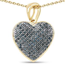 Srebrny wisiorek pokryty 14 ct żółtym złotem z naturalnymi niebieskimi diamentami 0,71 ct