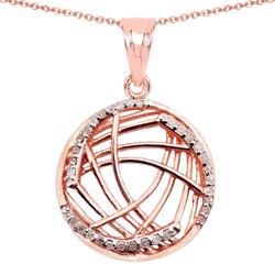 Srebrny wisiorek pozłacany 14 ct różowym złotem z naturalnymi diamentami 0,20 ct