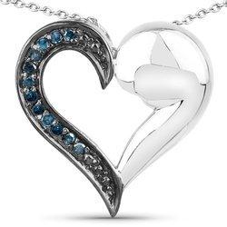 Srebrny wisiorek serce z 12 naturalnymi niebieskimi diamentami 0,11 ct