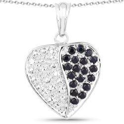 Srebrny wisiorek serce z 19 naturalnymi szafirami niebieskimi 0,95 ct