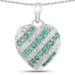 Srebrny wisiorek serce z 26 naturalnymi szmaragdami i 4 kryształami górskimi 1,67 ct Łańcuszek gratis