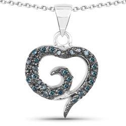 Srebrny wisiorek serce z 29 naturalnymi niebieskimi diamentami 0,20 ct