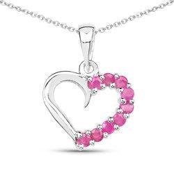 Srebrny wisiorek serce z 9 naturalnymi rubinami 0,45 ct