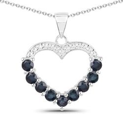Srebrny wisiorek serce z 9 naturalnymi szafirami niebieskimi 1,26 ct