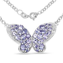 Srebrny wisiorek w kształcie motyla z 34 naturalnymi tanzanitami i 2 kryształami górskimi 3,31 ct