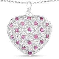 Srebrny wisiorek w kształcie serca wysadzany aż 20 naturalnymi rubinami 1 ct
