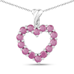 Srebrny wisiorek w kształcie serca z 14 naturalnymi rubinami 1,12 ct