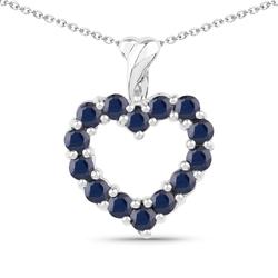 Srebrny wisiorek w kształcie serca z 14 naturalnymi szafirami łańcuszek w prezencie 1,26 ct