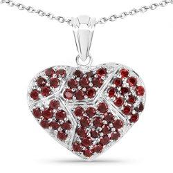 Srebrny wisiorek w kształcie serca z 30 naturalnymi granatami 2.60 ct