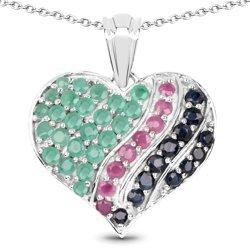 Srebrny wisiorek w kształcie serca z 44 naturalnymi szmaragdami, rubinami i szafirami 3,02 ct
