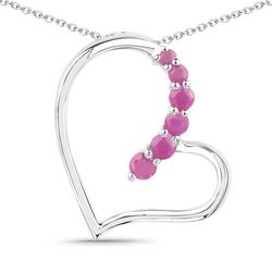 Srebrny wisiorek w kształcie serca z 6 naturalnymi rubinami 0,58 ct