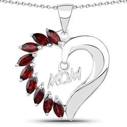 Srebrny wisiorek w kształcie serca z 9 naturalnymi granatami 1,80 ct