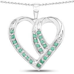Srebrny wisiorek w kształcie serca z naturalnymi szmaragdami 0.39 ct