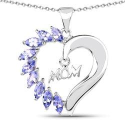 Srebrny wisiorek w kształcie serca z naturalnymi tanzanitami 1,26 ct