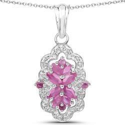 Srebrny wisiorek z 12 naturalnymi rubinami i kryształami górskimi 1,50 ct