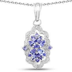 Srebrny wisiorek z 12 naturalnymi tanzanitami i 2 kryształami górskimi 0,98 ct