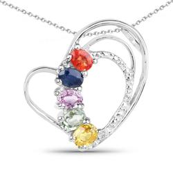 Srebrny wisiorek z 5 naturalnymi szafirami: niebieskim, pomarańczowym, czerwonym, zielonym i różowym 1.11 ct
