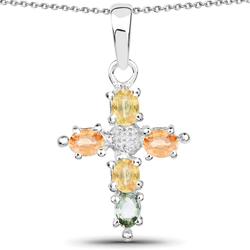 Srebrny wisiorek z 5 naturalnymi szafirami: pomarańczowym, zielonym i niebieskim oraz z kryształem górskim 1,27 ct