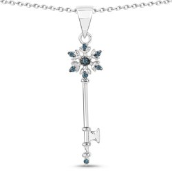 Srebrny wisiorek z 8 naturalnymi niebieskimi diamentami 0,05 ct