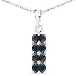 Srebrny wisiorek z 8 naturalnymi szafirami niebieskimi i 3 diamentami 2,02 ct