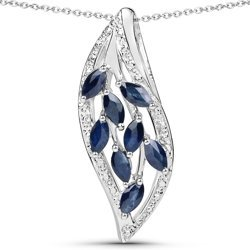 Srebrny wisiorek z 8 naturalnymi szafirami niebieskimi łańcuszek w prezencie 1,60 ct