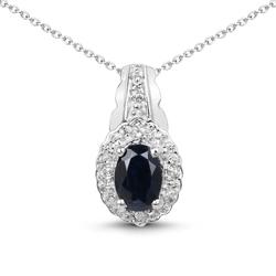 Srebrny wisiorek z dużym naturalnym szafirem niebieskim i kryształami górskimi+ łańcuszek w prezencie 0.98 ct