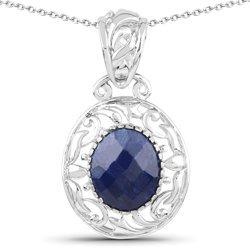 Srebrny wisiorek z dużym naturalnym szafirem niebieskim łańcuszek w prezencie 6,57 ct