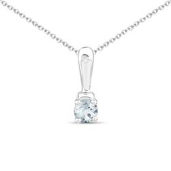Srebrny wisiorek z naturalnym akwamarynem i diamentem 0,26 ct Łańcuszek w prezencie