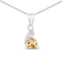 Srebrny wisiorek z naturalnym cytrynem i diamentami 0,48 ct