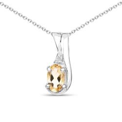 Srebrny wisiorek z naturalnym cytrynem i diamentem 0,44 ct Łańcuszek w prezencie