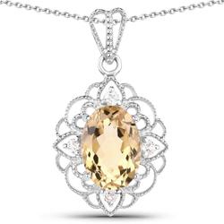 Srebrny wisiorek z naturalnym cytrynem i kryształami górskimi 6,32 ct